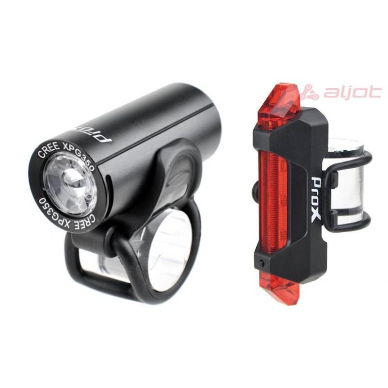 Zestaw mocnych lampek rowerowych PROX PICTOR SET USB - oświetlenie przód i tył